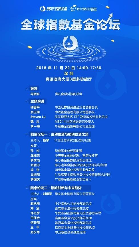 腾讯理财通组局 首届全球指数基金论坛11月22日举行