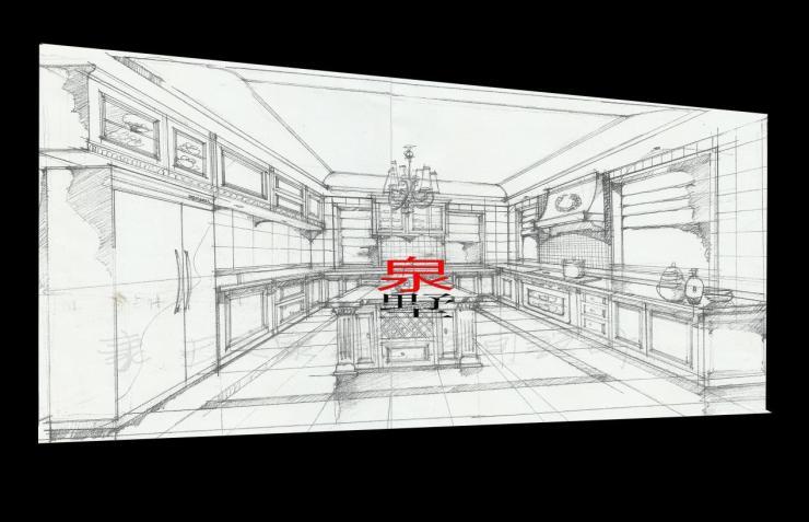 大气磅礴的手绘别墅室内设计效果图