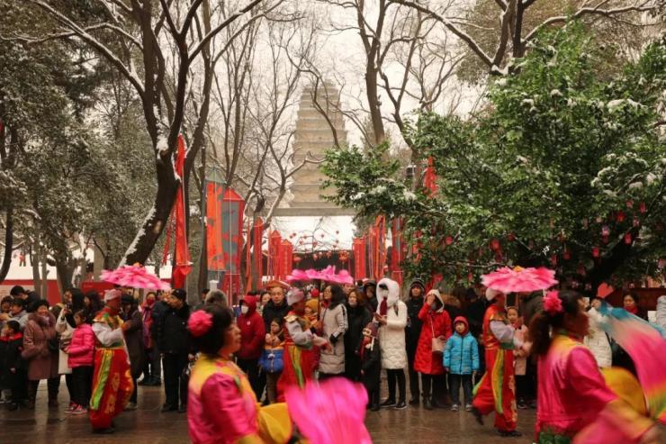 博物馆里过大年 |《我和我的祖国》快闪燃动小雁塔荐福新春文化庙会