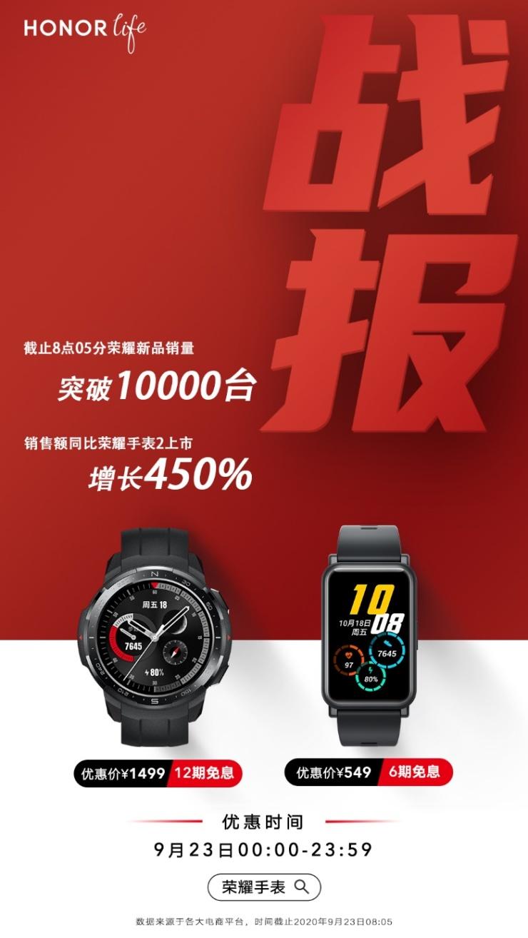 荣耀手表GS Pro、荣耀手表ES今日首销,同比上一代销量增长450%