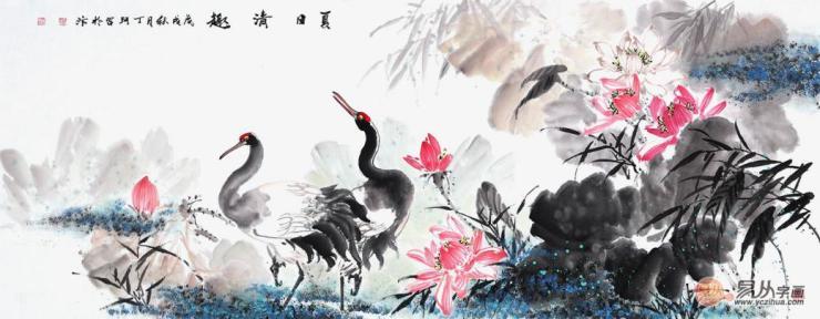 画家丁珂荷花仙鹤图《夏日清趣》(作品选自:易从网)