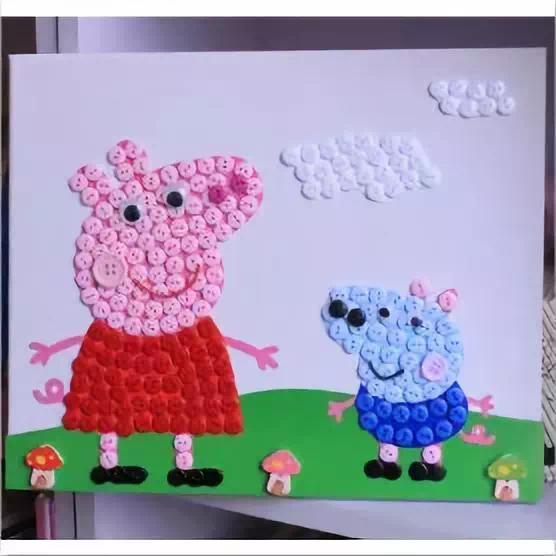 小猪佩奇纽扣创意画