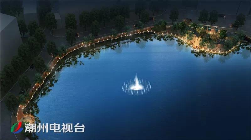 喷泉+栈道+小广场 潮州城区滨湖风景带这样打造