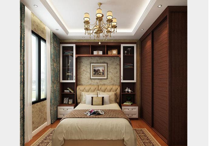 推拉门定制衣柜,节省空间的同时又满足了卧室衣物基本的收纳,让小户型