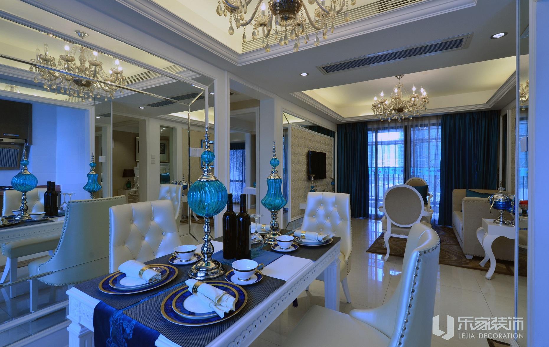 乐家装饰案例:湖蓝色的欧式家居_装修设计_搜狐焦点