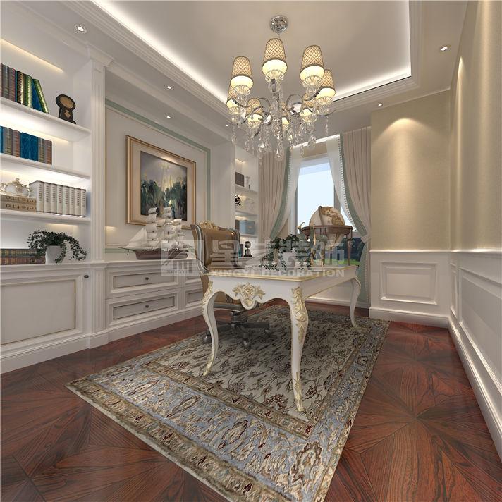 案例风格:法式风格   设计总监:姚辉   装修用材:墙纸,石材,地砖,拼花图片