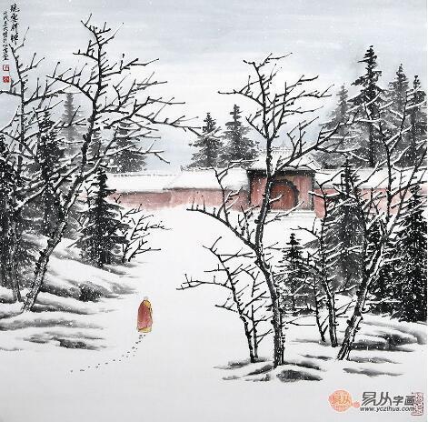 《听雪释禅》 (68*68cm) 借雪景来阐释自己心中的禅意,是吴大恺雪景图片