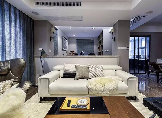 成都120平三房装修效果图客厅书房融为一体矮墙沙发真