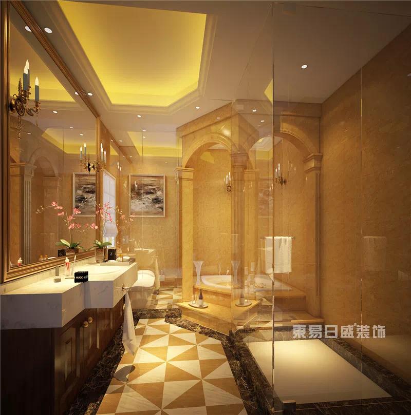 墙面和地面皆有高档大理石瓷砖铺装,贵气逼人,尽显奢华欧式古典气息.