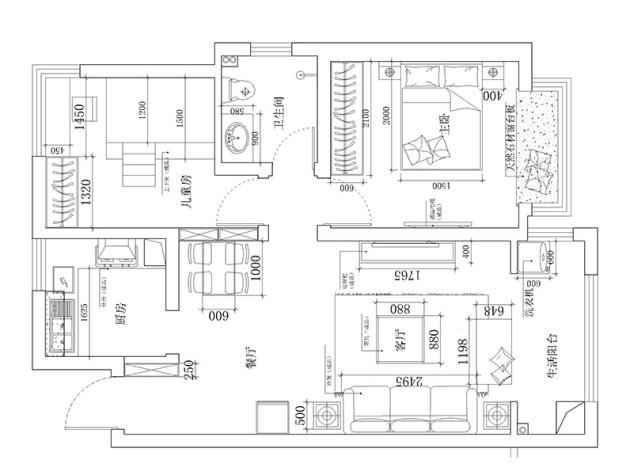 美巢建业春天里3套户型装修效果图 郑漂70平也能与别墅做邻居