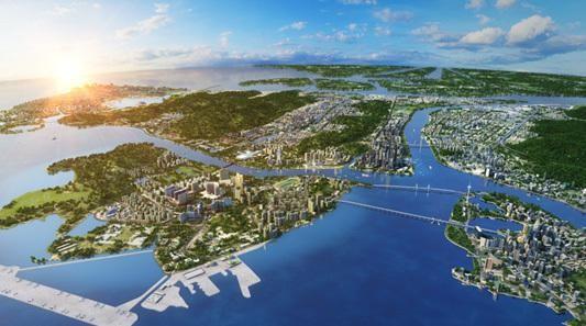以广州大学为核心,国际生物岛和大学城南岸地区为两翼,在约73平方公里