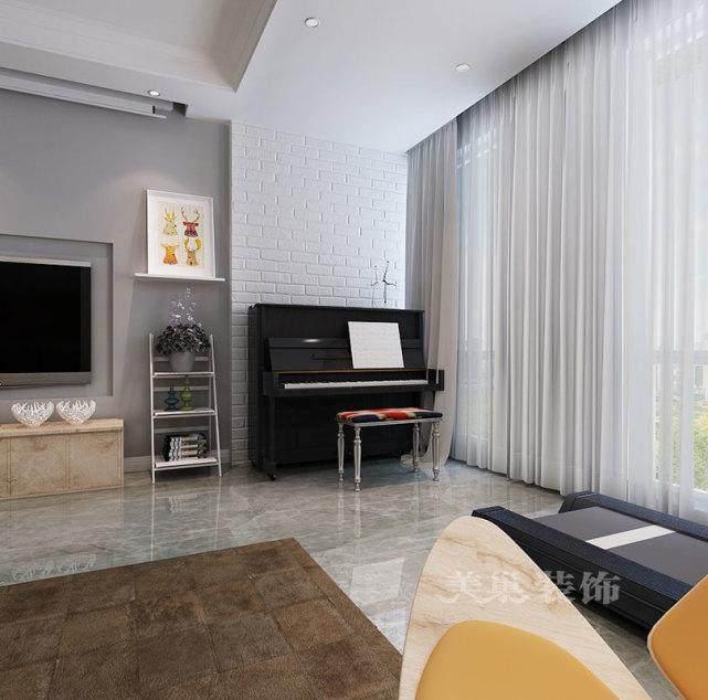 大平层客厅钢琴摆放