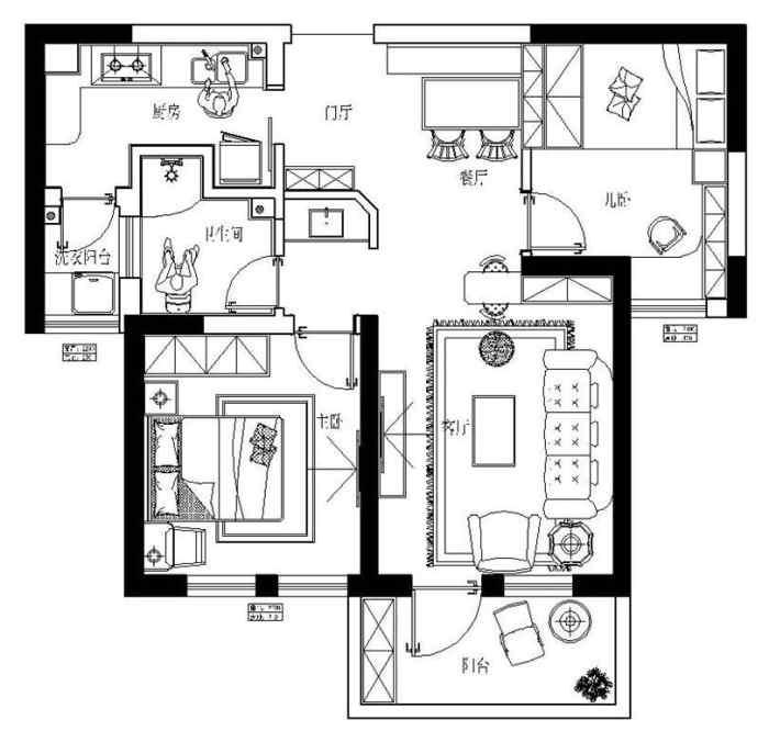 中益7囍74平两室两厅户型装修设计平面布局——郑州美巢装饰