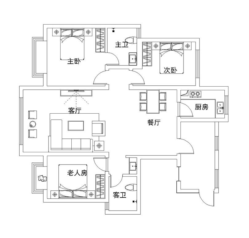 昆仑望岳140平三室两厅户型装修设计平面图——美巢装饰