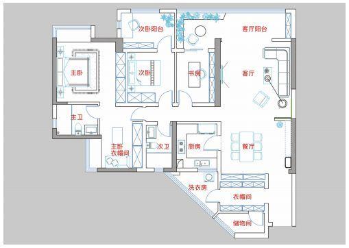 贵阳万科公园传奇27/28/29栋5号户型结构分析和方案解析 万科公园传奇 户型 装修 第8张
