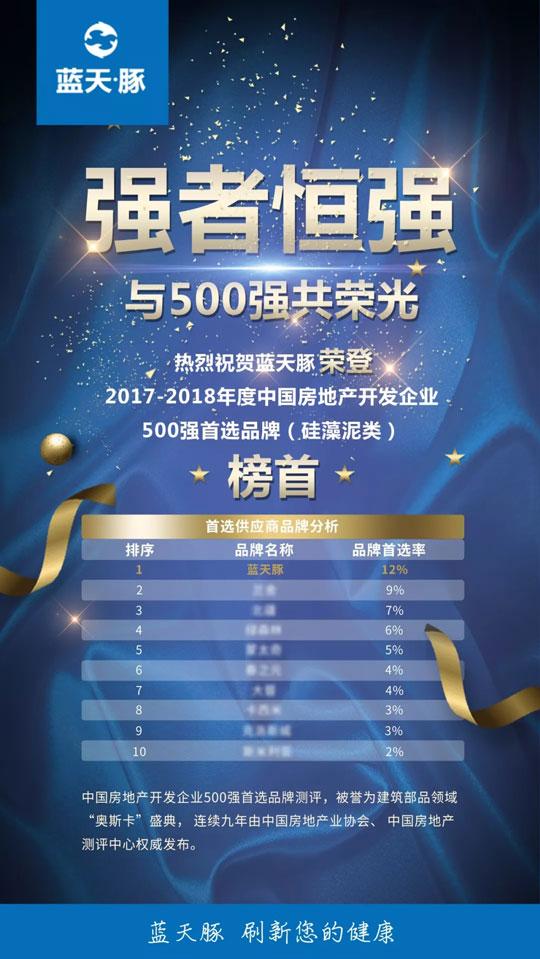与500强共荣光   蓝天豚硅藻泥获评中国房地产开发企业50