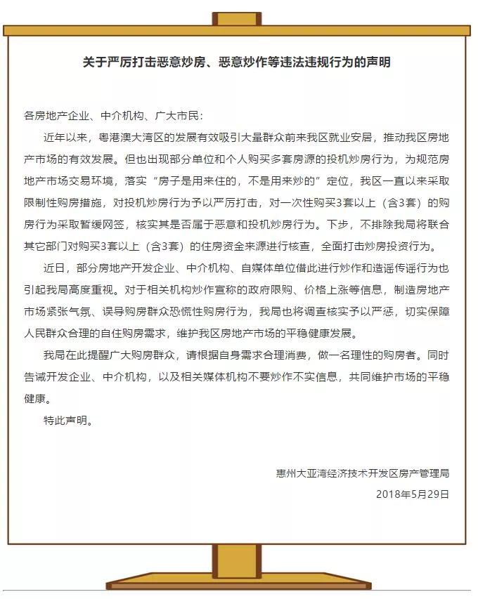 """惠州""""限购""""来了?官方:一次性购房大于2套要暂缓网签"""