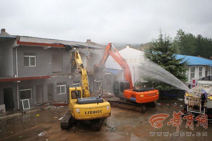 秦岭违建别墅整治在行动 灞桥区昨拆除两处违建
