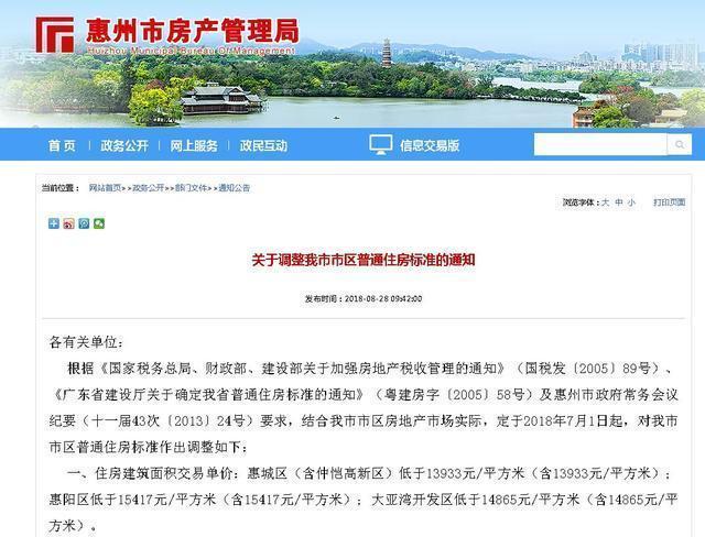 惠房│1.54万/㎡以下为普通住宅 惠州普通住房标准再调整