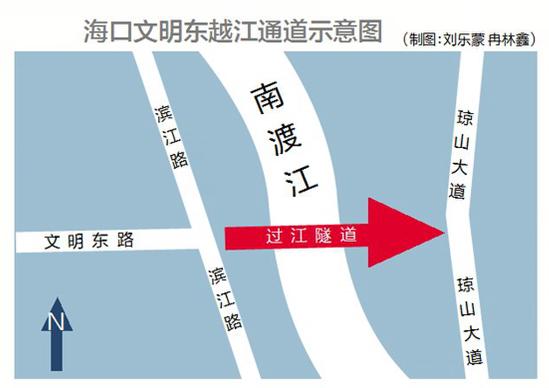 海口將建首條過江隧道 西起文明東路東接瓊山大道