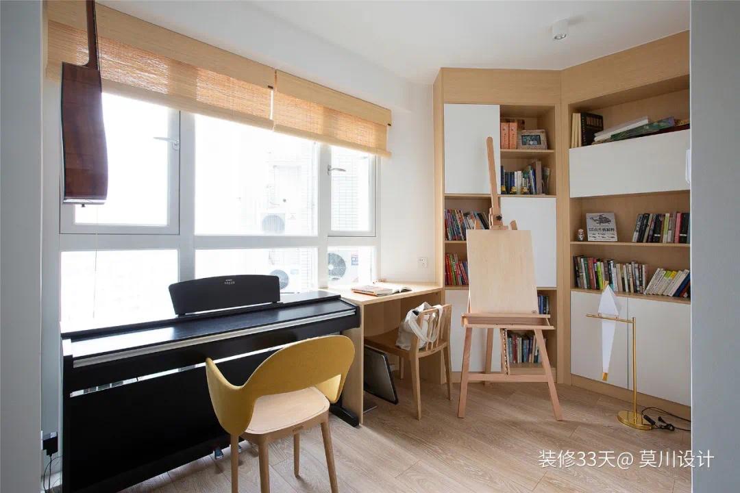 《【摩登3平台官网】背景整墙收纳,书房可开可合,实用78平MUJI三室》