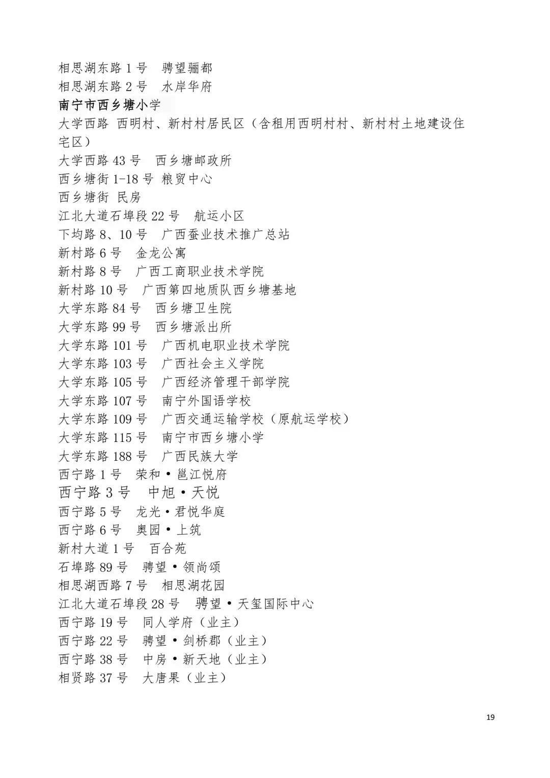 【2018年南宁小学招生地段公布】