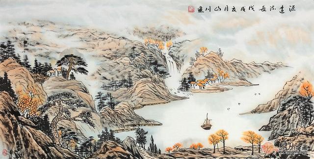 风水大师强烈推荐山川手绘风水画 办公室装饰绝佳选择