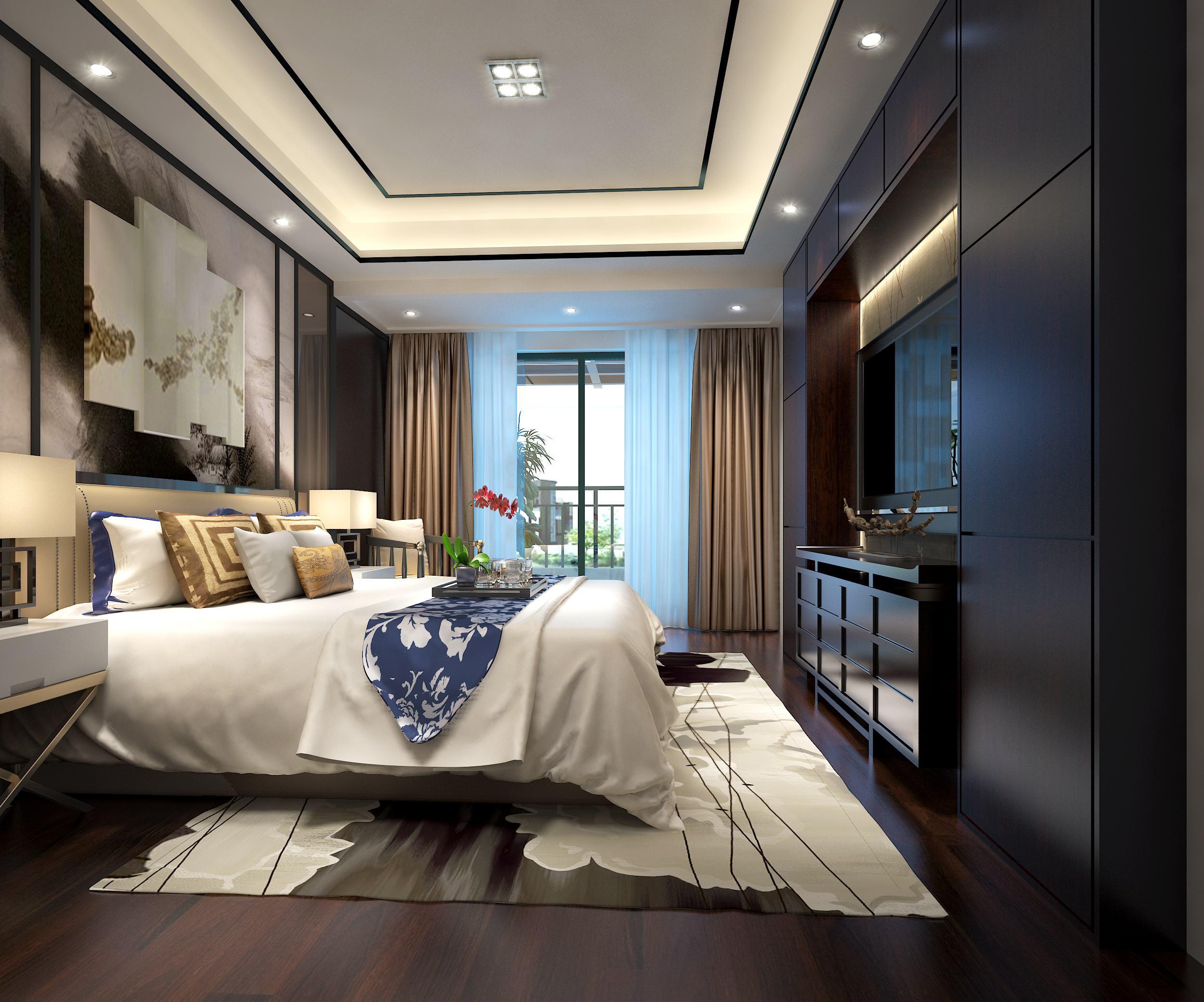 具有个性独特的新中式风格卧室装修效果图