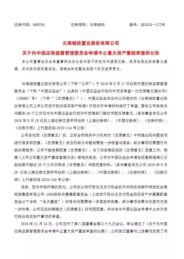 云南城投中止收购成都会展!今年股价最大跌幅超50%