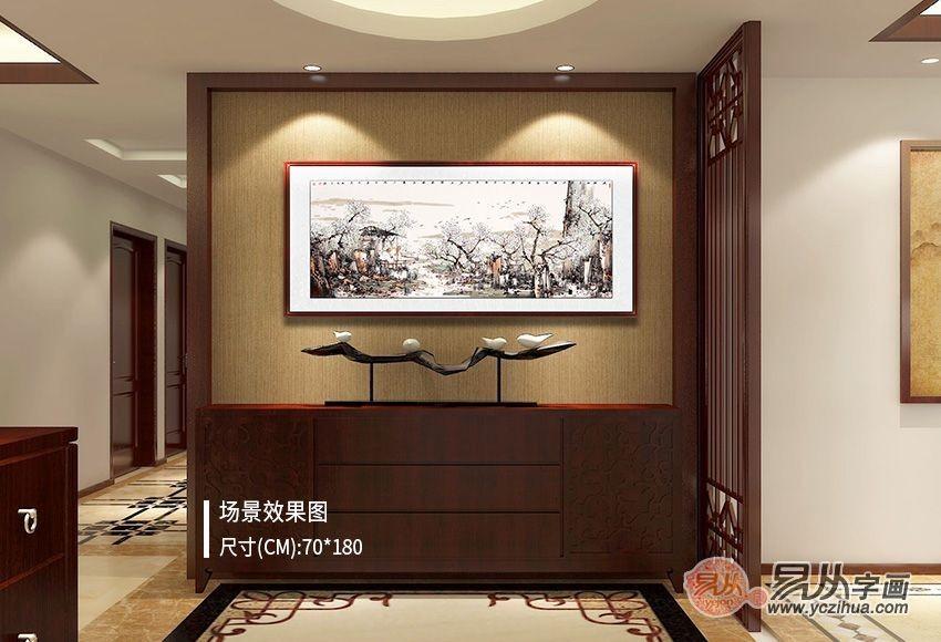 中國風書屋,怎少得了山水畫作裝飾畫