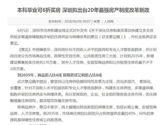 深圳樓市調控出大招:人才住房用地 地價低至三折