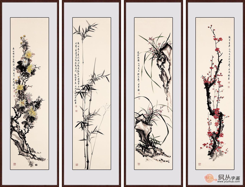 三类旺财的花鸟过画,是办公室挂画的必备题材