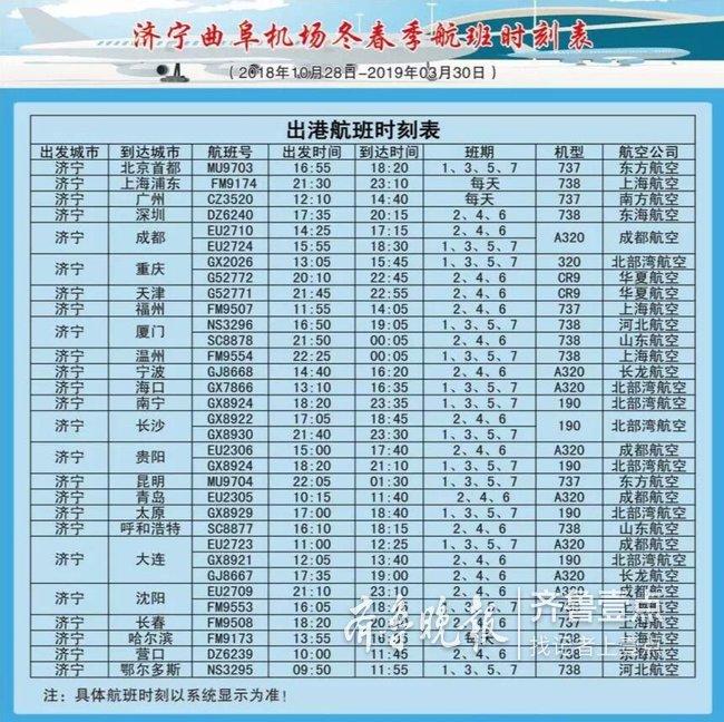 28日起,济宁曲阜机场将开通太原、宁波等5条新航班