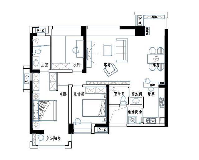 信达蓝湖郡90平米的房子装修现代简约风格
