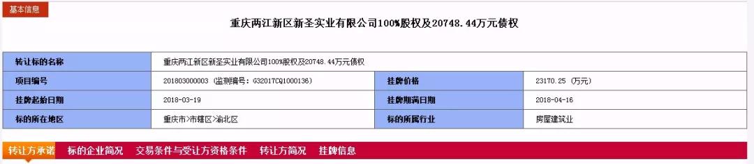 两江置业挂牌转让旗下一子公司100%股权及2.08亿元债权