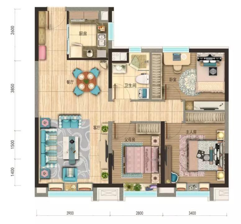 碧桂园·黄金时代|【约107㎡】父母房的设计