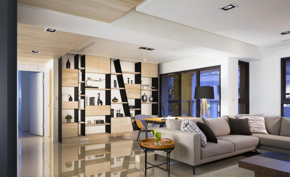 长江之歌140平白色和木纹搭配的现代风案例