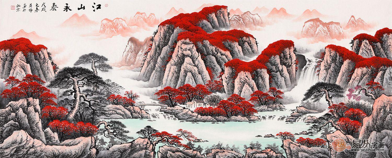 气势恢宏的新中式,山水画让家里挂画也上档次