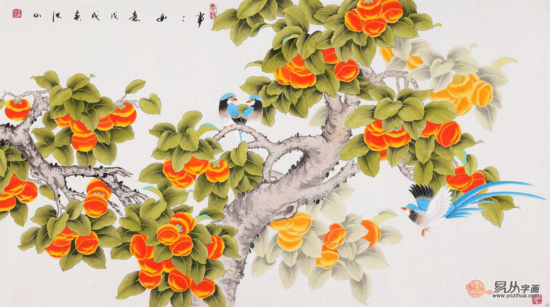 餐厅装饰画挂什么好,挂花鸟画美观寓意好