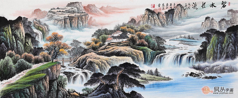 办公桌后边挂什么画好?山水画打造属于自然的艺术魅力