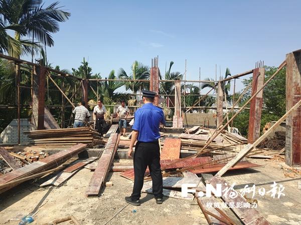 晋安城管拆除两处违建 下一阶段将继续加强巡查