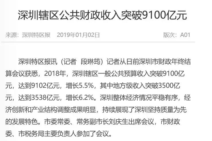 厉害了!深圳财政收入9100亿元,GDP含金量吊打北上广!