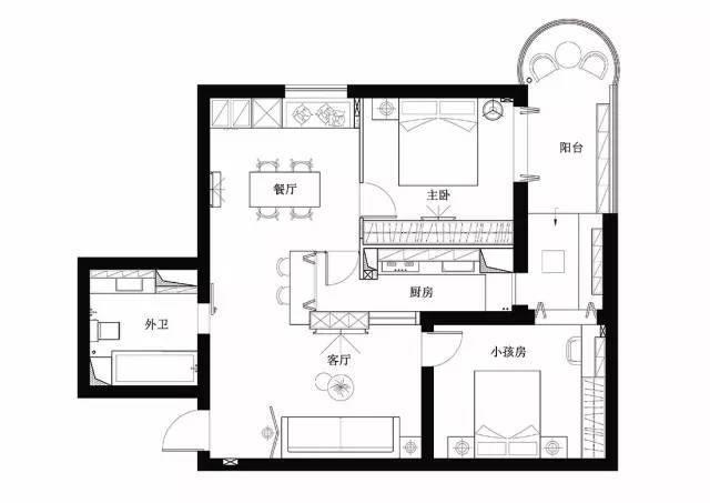 84㎡现代简约北欧风格二居房装修案例 实用又美观