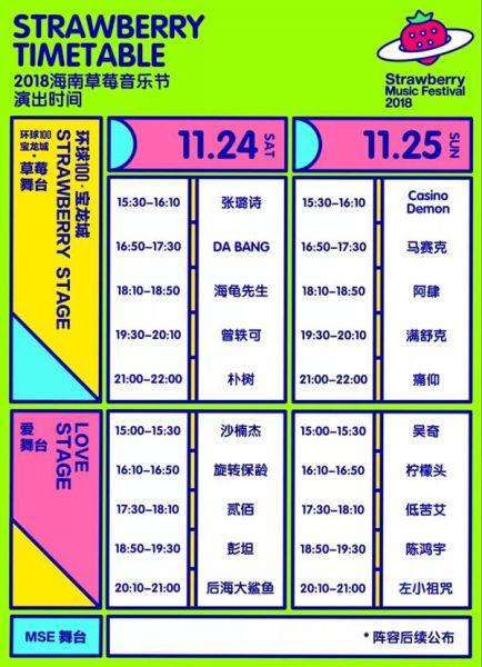草莓音乐节首次落地海南 11月24