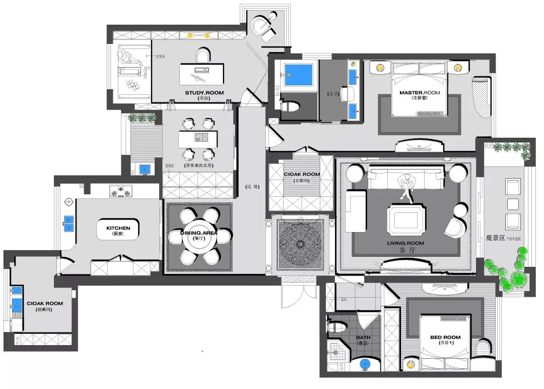 180m²中欧混搭的房子,古典、高贵、优雅,最终回归平静 混搭 第3张