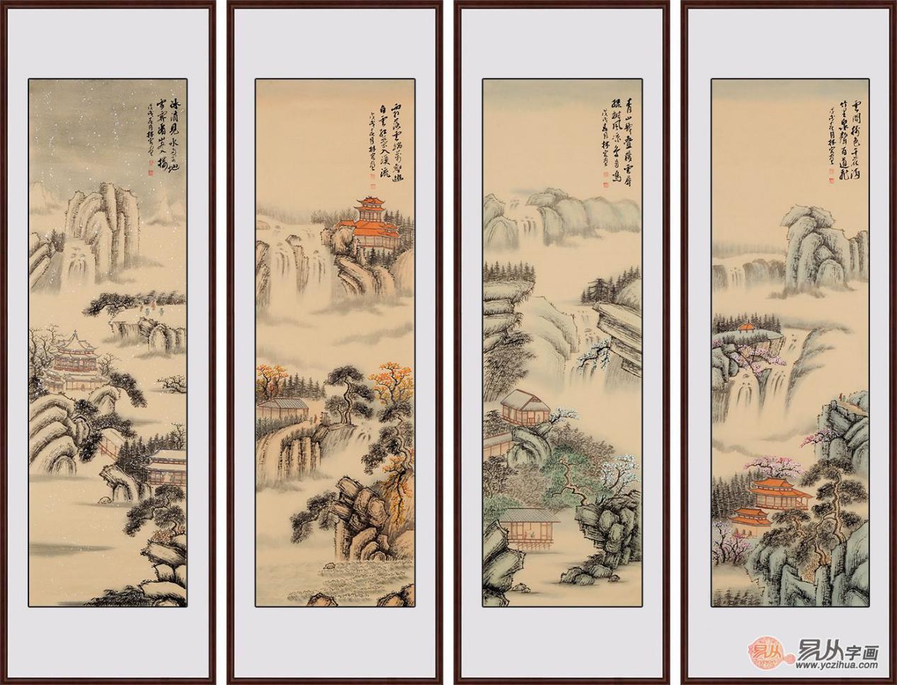 中式书房怎么装饰,国画山水、情有独钟