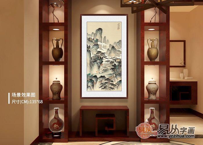 新中式软装设计:新中式玄关装饰画,山水画有格调的软装