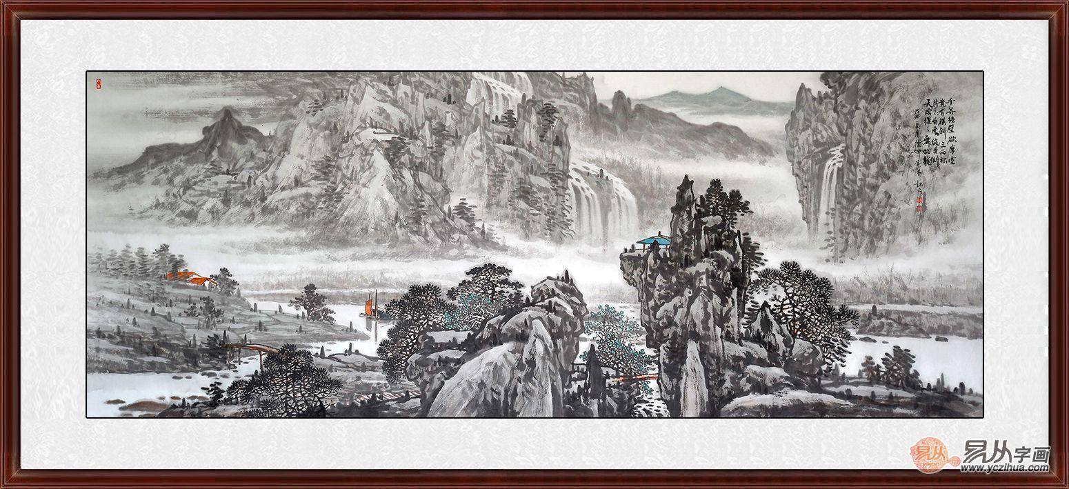 林德坤国画山水画作品赏析:用墨讲究,构图精巧